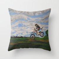moto Throw Pillows featuring Moto Jump  by Chloe Metcalfe