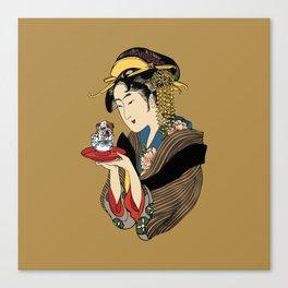 Tea Time with English Bulldog Canvas Print