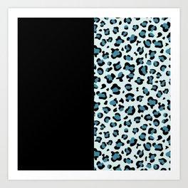 Animal Print, Leopard Spots - Blue Black Art Print