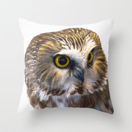 Saw Whet Owl Portrait Throw Pillow