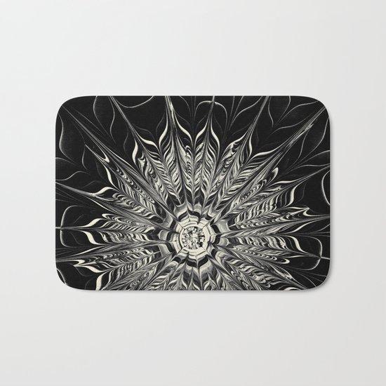 Monochrome Abstract Flower Bath Mat