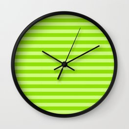 St. Patrick's Day Striped Pattern In Lucky Bright Green Wall Clock