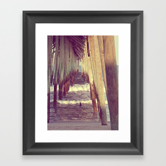 Carolina Beach Pier at Low Tide Framed Art Print