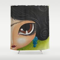 frida kahlo Shower Curtains featuring Frida Kahlo by Megan K. Suarez