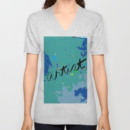 Artist acrylic abstract in shades of blue Unisex V-Neck