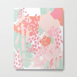 Billie - abstract gender neutral trendy painting soft colors bright happy nursery baby art Metal Print