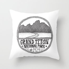 Grand Teton National Park Illustration Throw Pillow