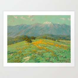 Granville Redmond snow cap spring landscape painting orange flowers green field Art Print
