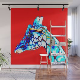 Colorful Giraffe Red (Left facing) Wall Mural