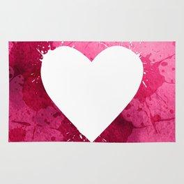 Pink watercolor splash heart texture Rug