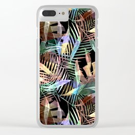 Tropical pattern. Colorful leaves on black Clear iPhone Case