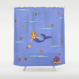 Fashionable mermaid - violet Shower Curtain