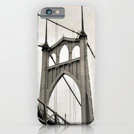 ST. JOHNS BRIDGE - PORTLAND OREGON - IN BLACK & WHITE iPhone Case