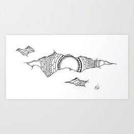 Ripped Mandala Art Print