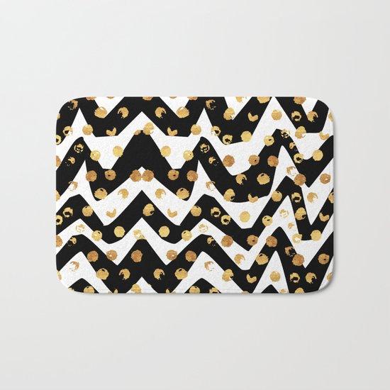 Gold Glory | Gold Foil Pattern, Black White Geometric Pattern, Mosaic Pattern, Gold Seamless Pattern Bath Mat