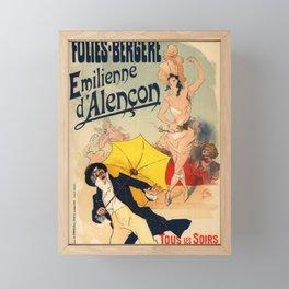 Folies Berg Res Emilienne D Alen On 1900 By Jules Cheret   Reproduction Art Nouveau Framed Mini Art Print