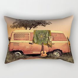 summer sunset landscape with skull and guitar Rectangular Pillow