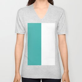 White and Verdigris Vertical Halves Unisex V-Neck