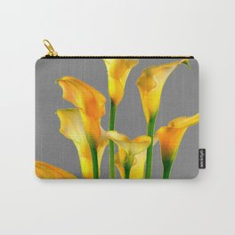 DECORATIVE GOLDEN CALLA LILY FLOWERS ON GREY ART Carry-All Pouch