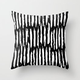 Vertical Dash White on Black Paint Stripes Throw Pillow