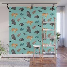 Asian Jungle Animals Pattern Wall Mural