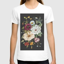 Colorful Wildflower Bouquet on Charcoal Black T-shirt