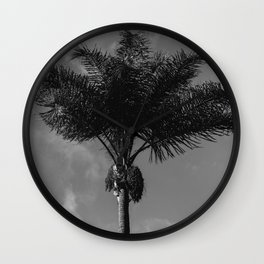 Monochrome Palm Tree Wall Clock
