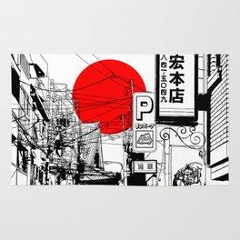 Tokyo street sunrise Rug