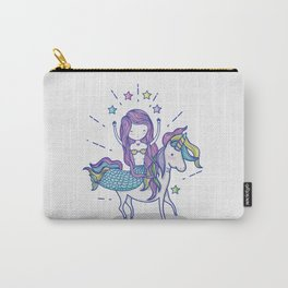 Mermaid Riding Unicorn Carry-All Pouch