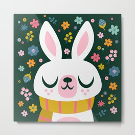 Bunny with a Scarf and Flowers / Cute Animal Metal Print