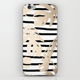 Simply Tropical White Gold Sands Palm Leaves on Stripes iPhone Skin