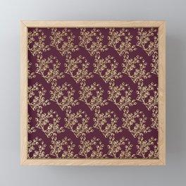 Elegant burgundy faux gold glitter berries floral Framed Mini Art Print