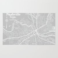 nashville Area & Throw Rugs featuring Vintage Nashville Gray by Upperleft Studios
