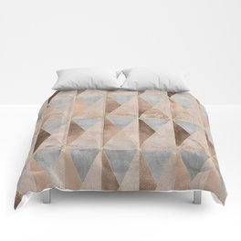 Copper Foil and Blush Rose Gold Marble Triangles Argyle Comforters