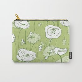 Stylized Poppies - green Carry-All Pouch