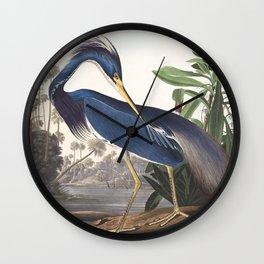 Louisiana Heron Bird Blue Yellow Painting Wall Clock