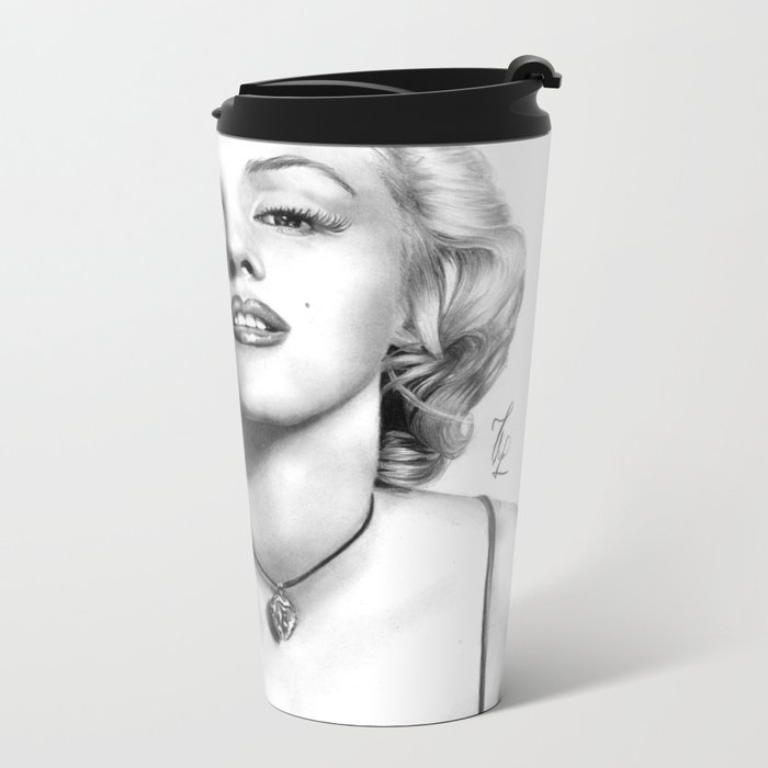 Marilyn Monroe - PENCIL DRAWING Metal Travel Mug
