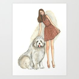 Fashionable Lady with a Bouvier in Watercolor and Ink Art Print