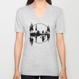 Upside down, Steve and the gang on bicycles, Stranger thing gift Unisex V-Neck