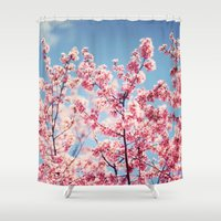 cherry blossoms Shower Curtains featuring Cherry Blossoms by Kameron Elisabeth