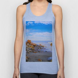sandy beach with blue cloudy sky in summer Unisex Tank Top