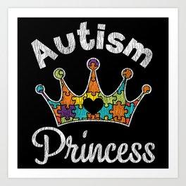 Retro Autism Princess Girl Autistic Kids Awareness Art Print