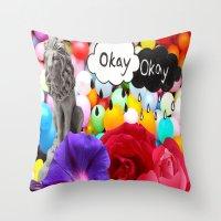 okay Throw Pillows featuring okay... by Aldo Couture