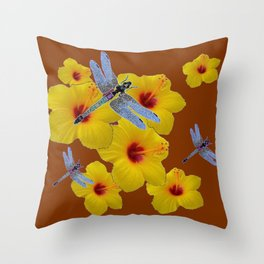 COFFEE BROWN BLUE DRAGONFLIES YELLOW HIBISCUS Throw Pillow