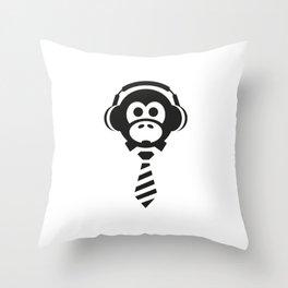Monkey Biz Black & White Throw Pillow