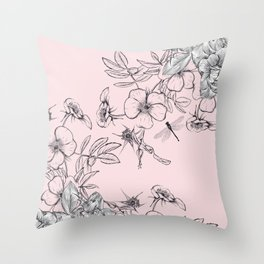 Floral vector rose illustration in vintage style Throw Pillow
