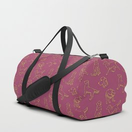 Golden Retriever Pattern (Berry Background) Duffle Bag