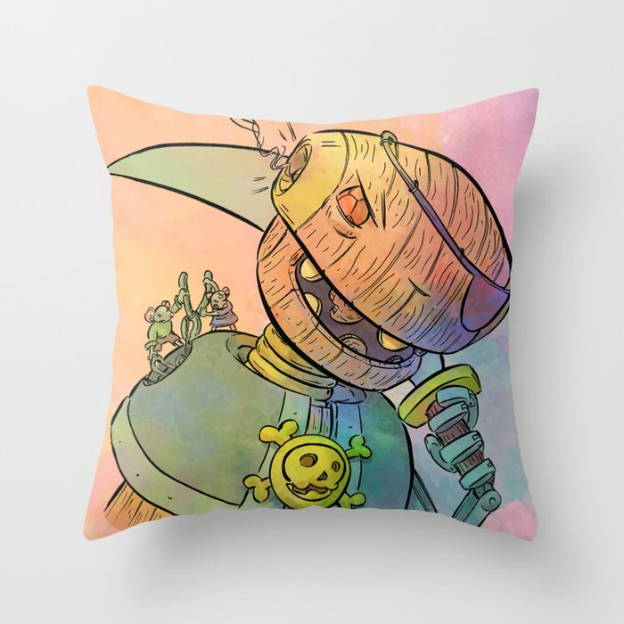 Robot Pirate Throw Pillow