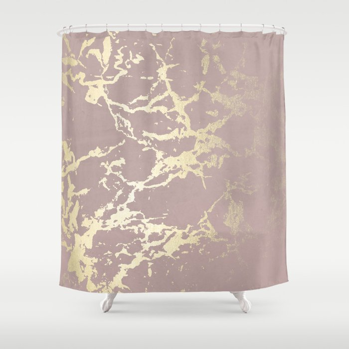 Kintsugi Ceramic Gold On Clay Pink Shower Curtain