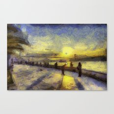 Bosphorus Sunset Van Gogh Canvas Print